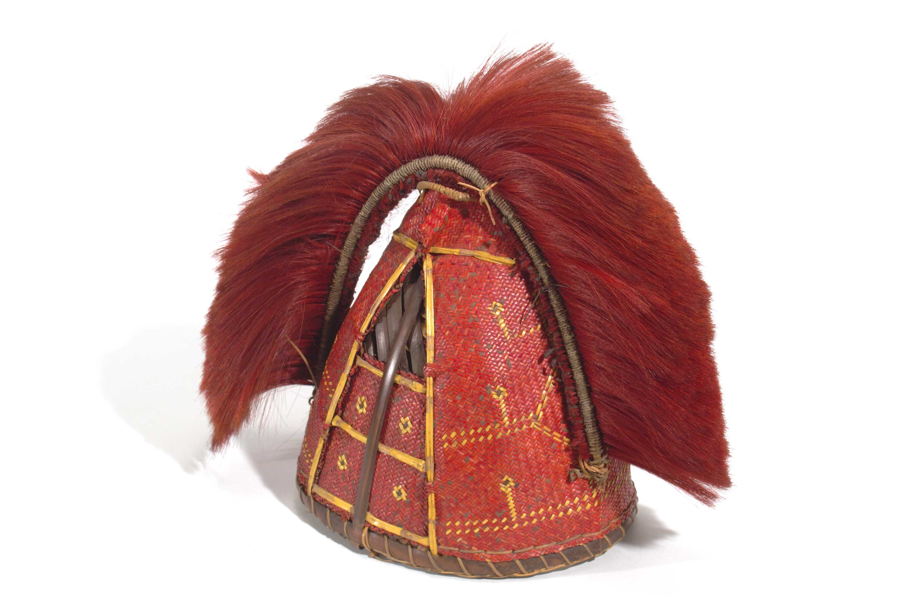 Naga basketry helmet with crest of hair from Upper Chindwin,Burma. Collected by the Vernay-Hopwood Chindwin Expedition in 1935. American Museum of Natural History 70.0/6374.