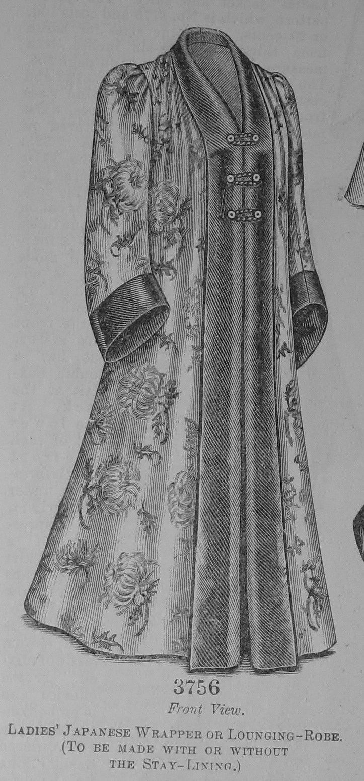 "Fig. 8. ""Ladies' Japanese Wrapper of Lounging-Robe"", The Delineator, April, 1900, p. 509 (Mei Mei Rado)."