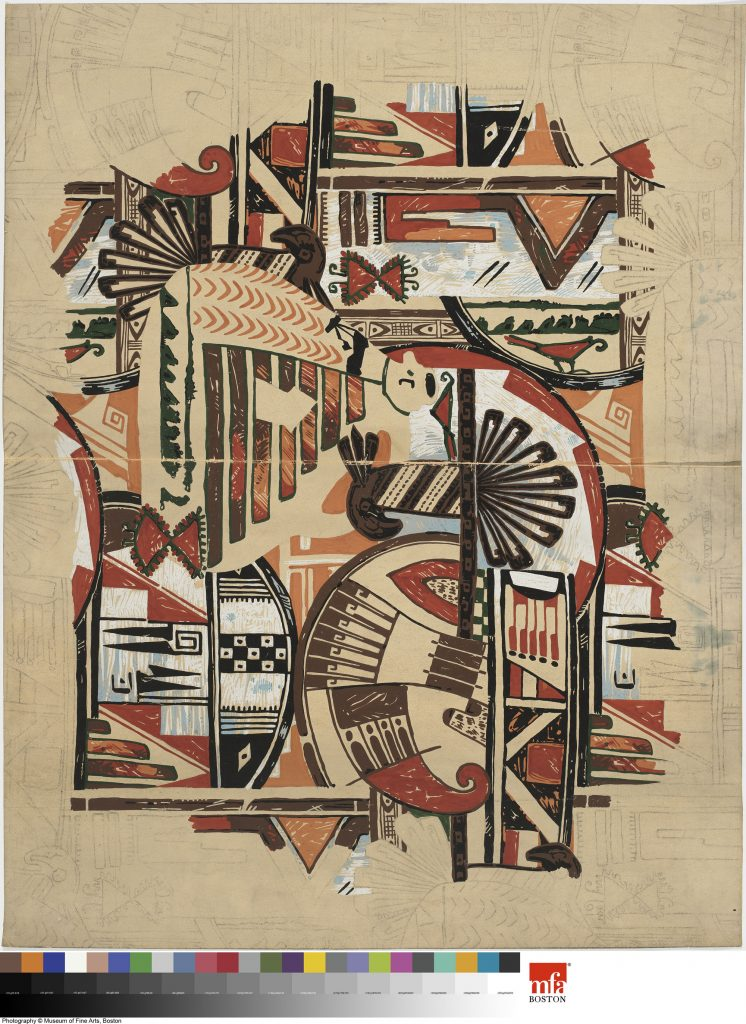 "Walter Mitschke for H. R. Mallinson & Co. Drawing for ""Zuni Tribe,"" ca. 1927. Pencil and gouache on paper. Museum of Fine Arts Boston, Gift of Robert and Joan Brancale, 2008.1950.35."