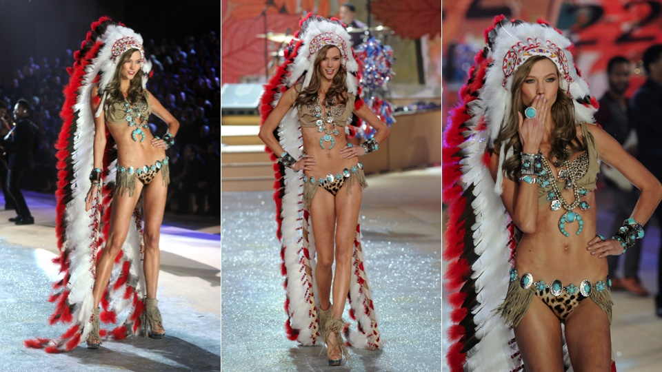 "Image 2: Victoria's Secret's 2012 runway show personified ""November"" wearing a bizarre mix of Native Indian regalia."