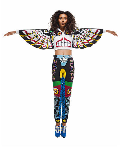 Image 6: Jeremy Scott's designs for Adidas crudely approximated the complex formline motifs of Northwest Coast region totem poles.