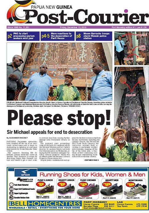 """Please Stop!"" The front page of the PNG Post Courier on December 13, 2013."
